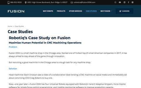 Screenshot of Case Studies Page fusionoem.com - Case Studies – Fusion Cobotics - captured Feb. 12, 2020