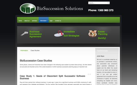 Screenshot of Case Studies Page bizsuccession.com.au - BizSuccession Solutions - Case Studies - captured Oct. 5, 2014