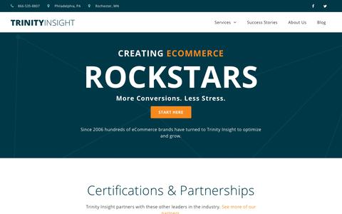 Screenshot of Home Page trinityinsight.com - eCommerce Consulting & Optimization - Trinity Insight - captured June 21, 2019