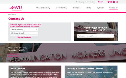 Screenshot of Contact Page cwu.org - CWU: Contact Us - captured Sept. 29, 2018