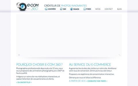 Screenshot of Home Page e-com360.com - E-COM 360 - Packshot photo 360 animé et fixe - captured Sept. 26, 2014