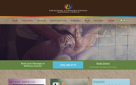 Screenshot of Home Page healing-connections.ca - Home page, Healing Connections, massage edmonton | Healing Connections - captured Jan. 18, 2017