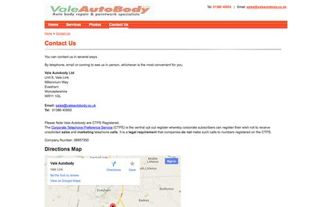 Screenshot of Contact Page valeautobody.co.uk - Contact Us | Vale Autobody - captured Oct. 27, 2014