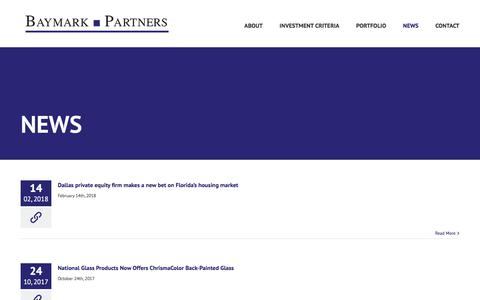Screenshot of Press Page baymarkpartners.com - Baymark Partners News | Private Equity Investment Dallas - captured Aug. 1, 2018
