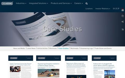 Screenshot of Case Studies Page oceaneering.com - Case Studies - Oceaneering - captured Oct. 11, 2018