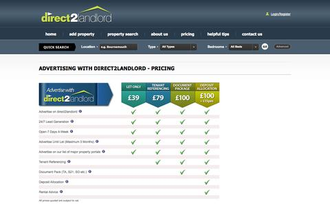 Screenshot of Pricing Page direct2landlord.co.uk - direct2landlord – online agent, letting agents, online property professionals, property advice - captured Sept. 30, 2014