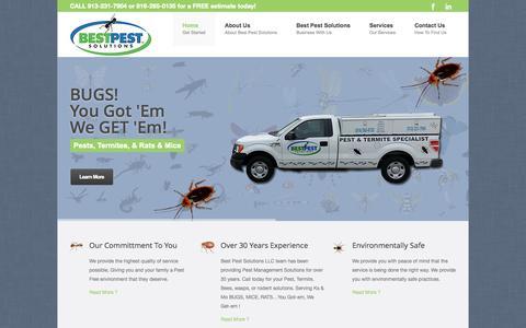 Screenshot of Home Page bestpestsolutions.com - Best Pet Solutions, Kansas City Pest Control Leader Serving the Greater Kansas City Area - captured Oct. 5, 2014