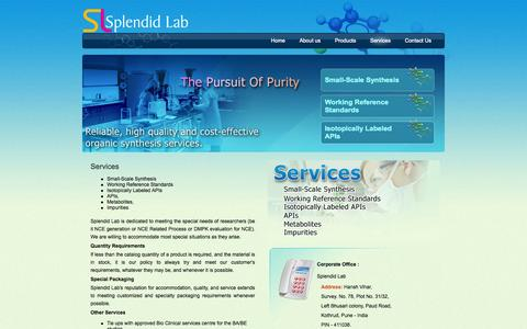 Screenshot of Services Page splendidlab.com - Chemical Synthesis India : Splendid Labs - - captured Sept. 17, 2014