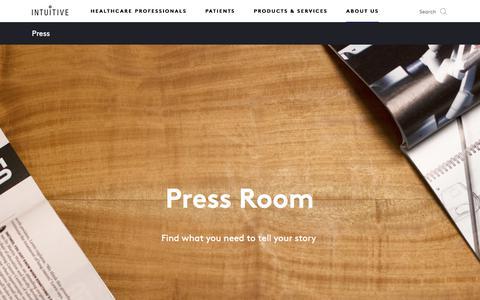 Screenshot of Press Page intuitive.com - Intuitive   Company   Press - captured Aug. 16, 2018