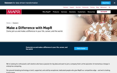 Screenshot of Jobs Page mapr.com - Fast-Track Your Career at MapR Technologies | MapR - captured Jan. 30, 2019