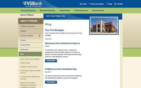 Screenshot of Blog fvsbank.com - Personal and Business Banking Blog  – Oshkosh, Fond du Lac, Waupun, WI - Fox Valley Savings Bank - captured Oct. 6, 2014