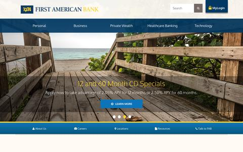Screenshot of Home Page 1934.bank - First American Bank - captured Sept. 25, 2018