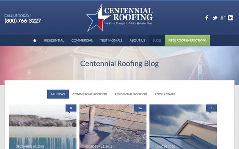Screenshot of Blog centennialroofing.com - Preparing Your Roof for Severe Winter Weather | Centennial Roofing | We Care Enough to Make You the Star! - captured July 12, 2016