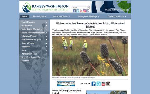 Screenshot of Home Page rwmwd.org - Ramsey Washington Metro Watershed District - captured Dec. 1, 2016