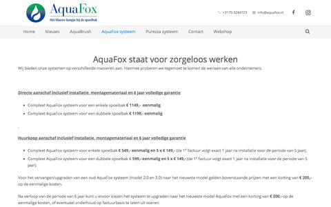 Screenshot of Pricing Page aquafox.nl - Prijzen – Aquafox - captured July 30, 2018