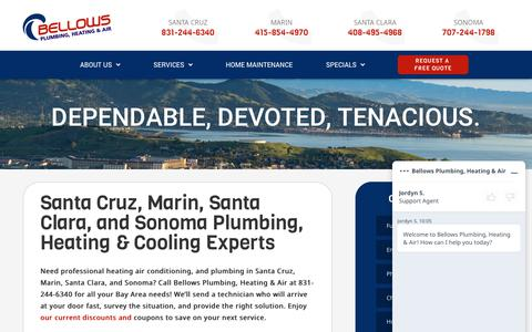Screenshot of About Page bellowsservice.com - About Our Heating, AC, and Plumbing in Santa Cruz, Marin, Santa Clara, and Sonoma - captured June 20, 2019