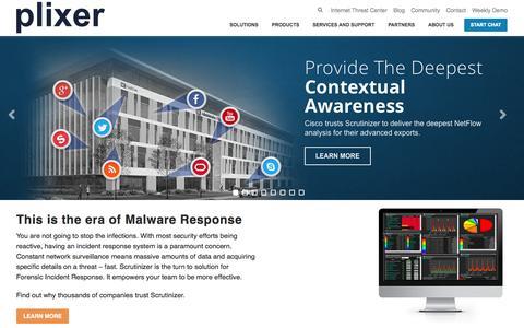 Screenshot of Home Page plixer.com - Plixer - Malware Incident Response - captured Oct. 1, 2015