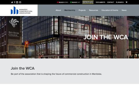 Screenshot of Signup Page winnipegconstruction.ca - Winnipeg Construction Association - Advocacy. Education. Construction Information.  | Join - captured Feb. 14, 2016