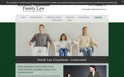 Screenshot of Testimonials Page ra-familylaw.co.uk - Trustworthy family law consultants in Northampton - captured Feb. 16, 2016