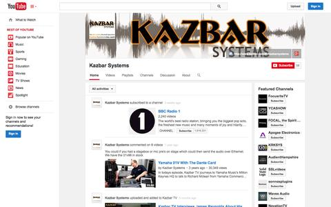 Screenshot of YouTube Page youtube.com - Kazbar Systems  - YouTube - captured Oct. 23, 2014