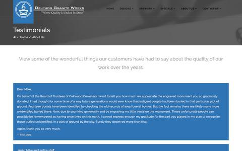 Screenshot of Testimonials Page delphosgraniteworks.com - Delphos Granite Works - Testimonials - captured Aug. 6, 2018