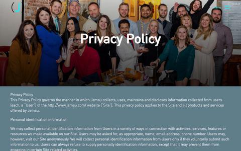 Screenshot of Privacy Page jemsu.com - Privacy Policy | JEMSU - captured May 29, 2018