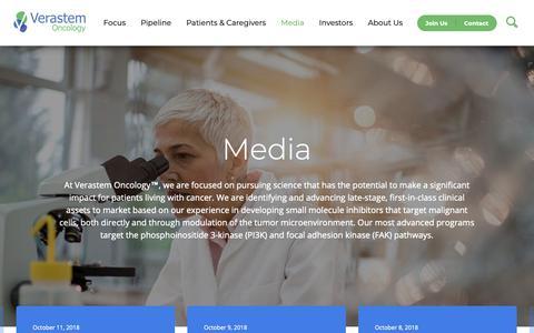 Screenshot of Press Page verastem.com - Media & Press   Verastem Oncology - captured Oct. 19, 2018