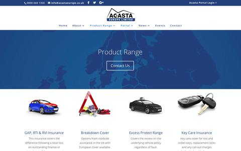 Screenshot of Products Page acastaeurope.co.uk - General Insurance Range - Acasta Europe Ltd - captured July 6, 2018