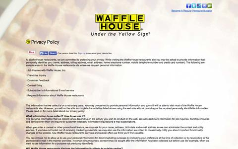 Screenshot of Privacy Page wafflehouse.com - Privacy Policy - captured Nov. 1, 2014