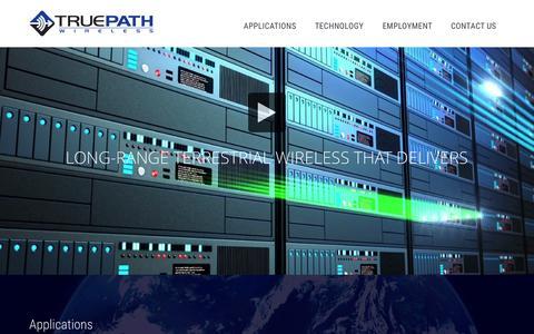 Screenshot of Home Page truepathwireless.com - TruePath Wireless – Long-Range Terrestrial Wireless That Delivers - captured Aug. 17, 2015