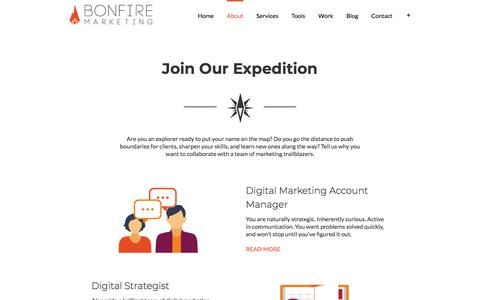 Screenshot of Jobs Page thinkbonfire.com - Careers | Bonfire Marketing - captured Sept. 19, 2018