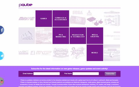 Screenshot of Home Page pqube.co.uk - Games Publishing, Distribution, Digital Download, Web, SEO, Design and Fulfilment Services | PQube - captured Sept. 26, 2014
