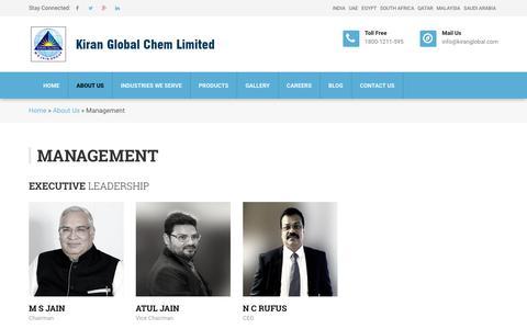 Screenshot of Team Page kiranglobal.com - Management - Kiran Global Chem Limited - captured Oct. 15, 2018