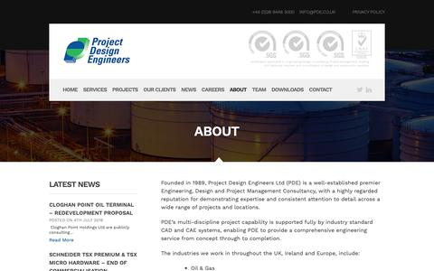 Screenshot of About Page pde.co.uk - About | Project Design Engineers - captured Sept. 30, 2018