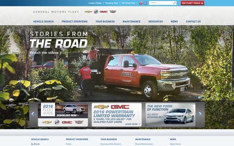 Screenshot of Home Page gmfleet.com - Fleet Cars, Business & Commercial Vehicles | GM Fleet - captured Jan. 24, 2016