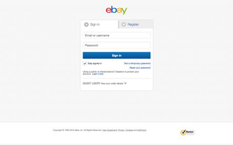 Screenshot of Contact Page ebay.co.uk - Sign in or Register | eBay - captured Jan. 30, 2018