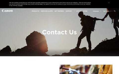 Screenshot of Contact Page canon-europe.com - Contact Us - Canon Europe - Canon Europe - captured March 1, 2019