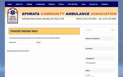 Screenshot of Hours Page ephrataambulance.org - Volunteer Hours - Ephrata Community Ambulance Association, Inc. - captured Dec. 15, 2018