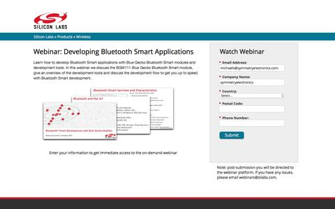 Screenshot of Landing Page silabs.com - Webinar: Developing Bluetooth Smart Applications | Silicon Labs - captured March 10, 2017