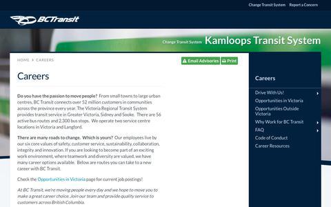 Screenshot of Jobs Page bctransit.com - BC Transit - Careers | BC Transit - captured Nov. 6, 2018