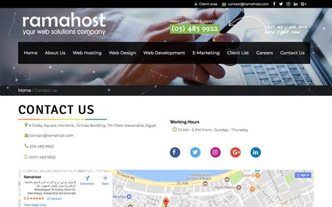 Screenshot of Contact Page ramahost.com - RamaHost Web Hosting Provider in Egypt - captured Nov. 12, 2017