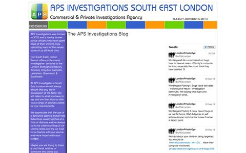 Screenshot of Blog private-detective-agency.co.uk - Blog - APS Investigations South East London - captured Oct. 5, 2014