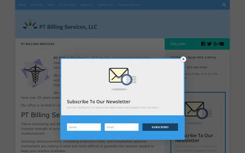 Screenshot of Home Page ptbillingservices.com - PT Billing Services - captured Dec. 13, 2018