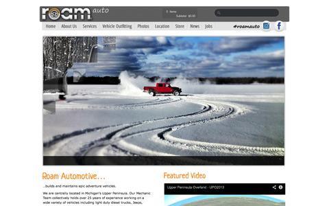 Screenshot of Home Page roamauto.com - Roam Automotive | Vehicle Outfitting Specialists - captured Oct. 9, 2014
