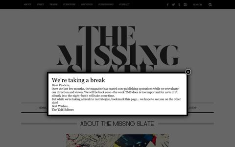 Screenshot of About Page themissingslate.com - About The Missing Slate – The Missing Slate - captured Sept. 28, 2018
