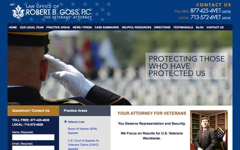 Screenshot of Home Page attorneyforveterans.com - Veterans' Lawyer - VA Disability Attorney - Harris County, Texas Consumer Lawyer - captured Jan. 26, 2016