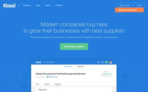Screenshot of Home Page klaud.co - Klaud - Companies buy here to grow their businesses with best suppliers - captured March 9, 2016