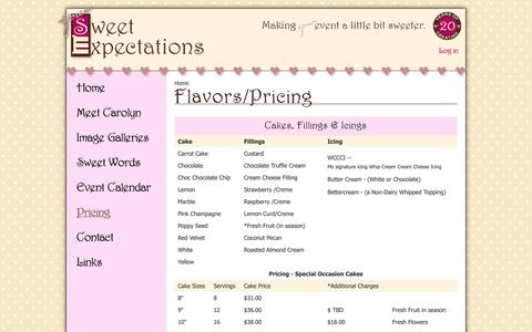 Screenshot of Pricing Page yoursweetexpectations.com - Flavors/Pricing | Your Sweet Expectations - captured Oct. 7, 2014