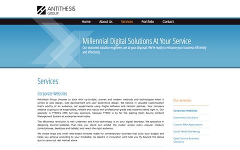 Screenshot of Services Page antithesis.gr - Corporate Web Sites | Antithesis Group - Digital agency, TYPO3 solutions, corporate web, social media, open source experts - captured Oct. 4, 2014