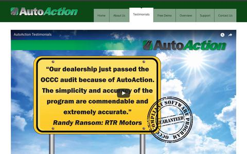 Screenshot of Testimonials Page autoactiondms.com - AutoAction  » Testimonials - captured Oct. 4, 2018